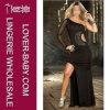 Мантия вечера нового черного сексуального женское бельё длинняя (L51303-2)