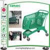 Carro de compra plástico cheio do supermercado