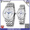 Montre faite sur commande d'OEM de logo Japon de quartz de Yxl-334 de couples de montres d'acier inoxydable de bande d'amoureux de calendrier de Mens de montres promotionnelles de femmes