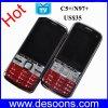 Faixa SIM duplo do quadrilátero do telefone móvel da barra da tevê de CC5+/N97+ máquina automática aprovada E da imprensa do calor de 2.4 estações da luz da tocha da tela da polegada (C5+/N97+) quatro