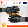 Doublure en nylon gris jauge 13 entièrement recouvertes de gants en nitrile noir