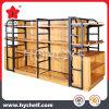 Shelving de madeira e do metal da loja do indicador