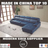 現代L形の部門別の革ソファーの青(Lz8002)