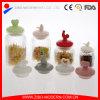 Оптовый стеклянный опарник подарка опарника еды опарника хранения вертикальных нашивок с различный керамической крышкой