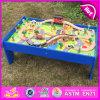 Новый комплект поезда игрушки шаржа ребенка конструкции 2016, воспитательный деревянный комплект поезда игрушки малыша, большинств популярный деревянный поезд установленное W04c036 игрушки