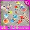 Giocattolo magnetico bipolare di legno di pesca 2015, giocattolo magnetico del gioco di pesca di divertimento di legno variopinto, giocattolo di legno W01A070 di pesca di formazione