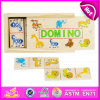 Il domino di legno del migliore capretto di vendita di alta qualità 2015, giocattolo variopinto di domino dei bambini di nuovo disegno, personalizza il domino di legno divertente W15A030b del giocattolo