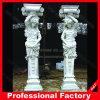 Pulido de granito tallada en mármol, columnas romanas para decoración de interiores