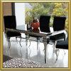 Vector de cena de Louis de la plata del cromo del acero inoxidable de los muebles caseros modernos del comedor/del vidrio Tempered con la tela del terciopelo que cena sillas