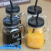 Kundenspezifisches Firmenzeichen-Glasflaschen-Maurer-Glas mit Stroh
