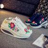 女性によって刺繍される靴の刺繍の靴