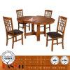 나무로 되는 식사 의자와 테이블 세트