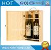 Rectángulo de empaquetado de la insignia del doble del vino de madera de encargo de la botella