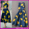 Eropean 2015 Style Floralprinted Celebrity Dress Ladies Two Pieces Sleeveless Crop Top e Skirt Sets (E-3312)
