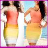 2015 Nova Moda Rainbow Strapless coloridos Sexy vestido de bandagem Bodycon/Vestido de festa /noite Dress (C-141)