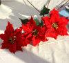 Flor artificial grande del Poinsettia para la decoración del hogar de la Navidad (SF15962)