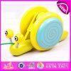 Hot Sale puxe o brinquedo rápido de madeira do caracol para crianças, novo presente promocional Crianças Snail Cartoon Pull Line Toy W05b107