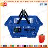 Double panier à provisions en plastique neuf de luxe de traitement (Zhb44)