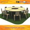 Schulkind-hölzerner Tisch mit dem Edelstahl-Tisch-Bein (IFP-028)