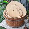 屋外の木の庭の植木鉢及び花立場