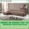Parte superior luxuosa L sofá estofado couro da mobília da casa de campo da forma