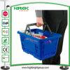 Пластиковые корзины продуктовых магазинов прикатывающими барабанами