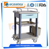 3 couches à clinique de chariot médical de chariot avec l'acier inoxydable d'ABS en aluminium (GT-CT3101)