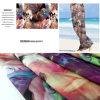 A praia impressa flor do poliéster arfa a tela, tela ocasional do vestuário