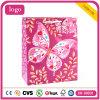 Bolsa de papel revestida del regalo del arte rosado de la mariposa