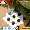 Azulejo de cerámica blanco de la decoración agradable y negro hexagonal del suelo y de la pared de mosaico