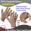 10g коричневый полиэстер/шерсти вязаные рукавицы с 2-коричневого цвета со стороны ПВХ покрытие Criss-Cross/ EN388: 124X