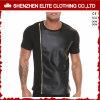 Les T-shirts en cuir noirs bon marché des hommes faits sur commande en gros (ELTMTI-22)
