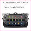 3G WiFi Android Market 4.0 DVD carro GPS para Toyota Corolla 2006-2011 com GPS, Bluetooth, comandos no volante, Câmera para visão traseira