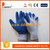 Перчатка безопасности латекса Crinkle перчаток хлопка Ddsafety 2017 связанная голубая