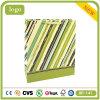 Bolso de compras del papel revestido de la raya verde y azul