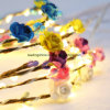 A corda do diodo emissor de luz ilumina decoração ao ar livre a pilhas do casamento da festa de Natal da luz feericamente do diodo emissor de luz de Paperflower