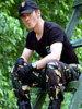 黒く戦術的な軍半分指のFingerless手袋(DBL-02)