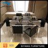Tabela de banquete moderna do mármore do preto da mobília do aço inoxidável