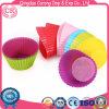 Cupcake de silicona redondos de los casos los moldes para hornear tortas de conjunto de la copa
