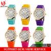 La fábrica más barata del reloj del silicón de la manera de las señoras Quatch Ginebra de los colores del caramelo del reloj de la jalea de la marca de fábrica de Ginebra de la venta al por mayor loca del vendedor Yxl-318