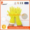 Желтые перчатки DHL423 безопасности подкладки стаи брызга перчатки домочадца латекса