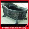 Vasca da bagno di marmo nera diritta libera intagliata mano