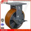 industrielles Gelb 6 PU-Fußrollen-Rad mit Bremse