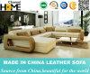 Sofa sectionnel de forme moderne d'U, cuir véritable noir (HC1019)