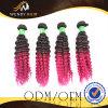 Tissage brésilien de cheveux bouclés d'Afro de Vierge de couleur d'Ombre