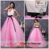 a - linha/capela Train Evening Dress de Princess V-Neck Straps com Bow (k-177)