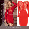 Form-reizvolles langes Hülse Bodycon Abend-Kleid (4075)