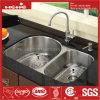 Acier inoxydable  X33-1/2  de la conformité 21 de Cupc sous le bassin de cuisine de cuvette de double de support