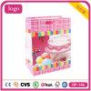 Bolso de compras del papel revestido de la torta del color de rosa del cumpleaños