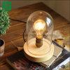 Rustikale hölzerne Schreibtisch-Lampe der Weinlese-hölzerne Tisch-Lampen-E27 mit Plastikdeckel